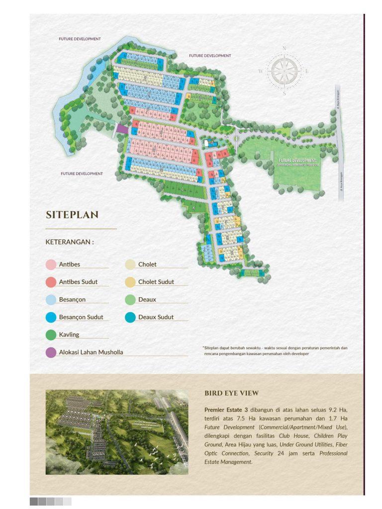 site plan perumahan premier estate 3 kranggan cibubur
