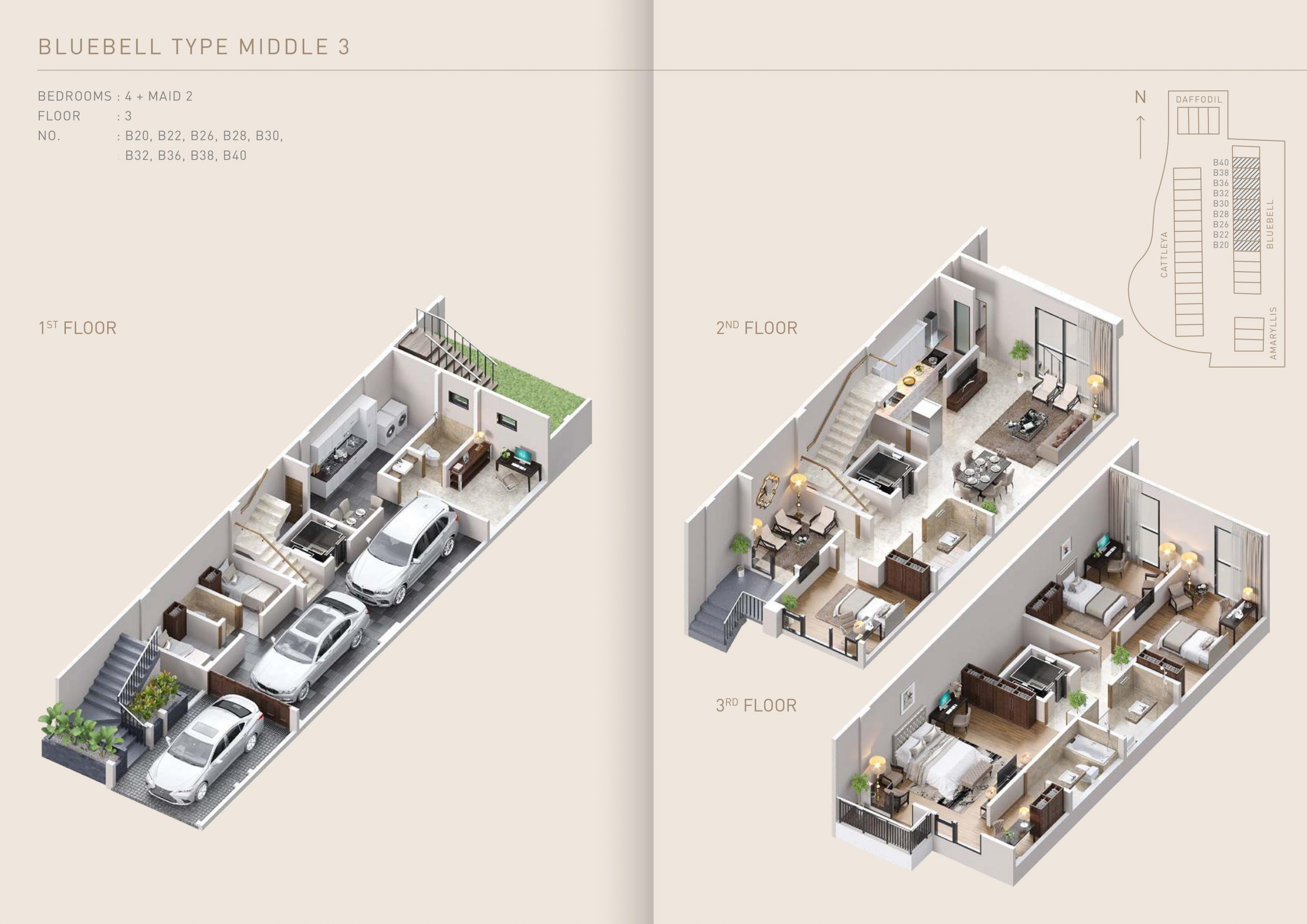 lay out dan floor plan pondok indah town house