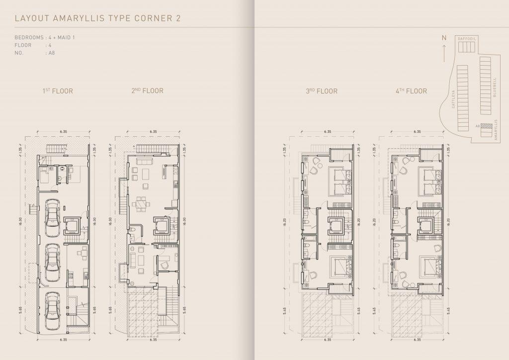 Pondok Indah Town House Lay Out Amaryllis Type Corner 2 therumahproperty.com