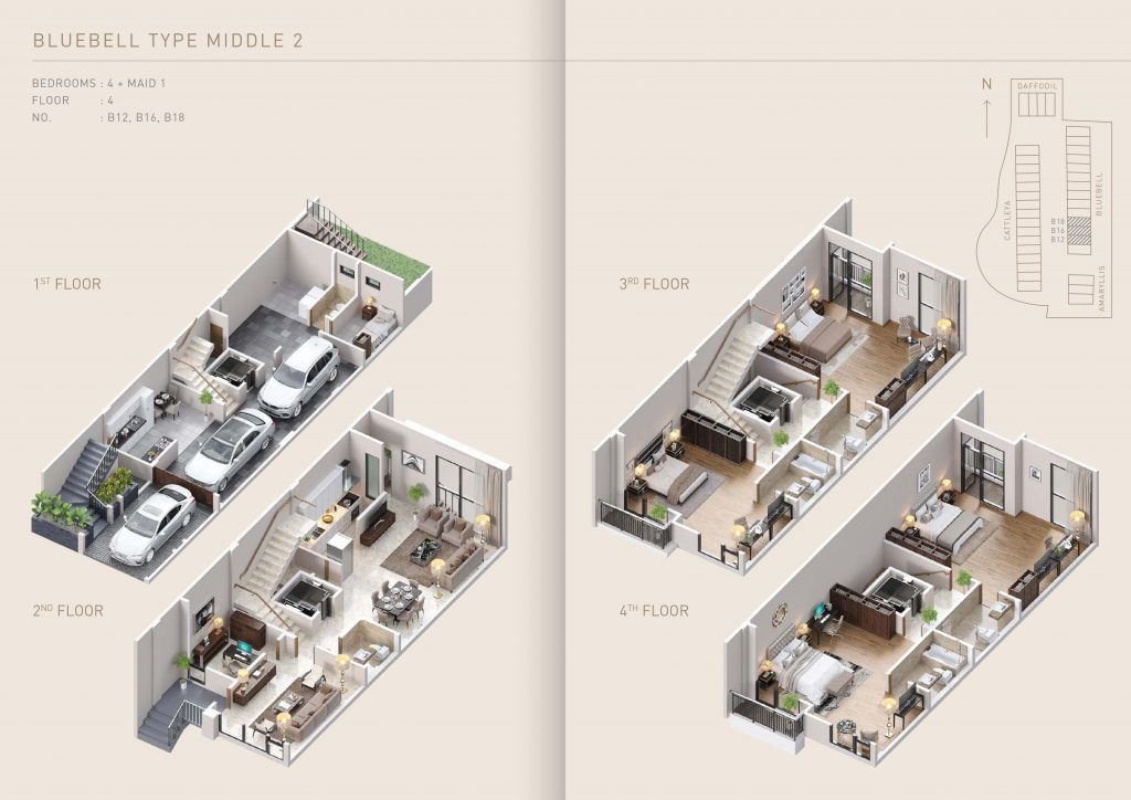 Pondok Indah Town House floor plan Bluebell Type Middle 2 therumahproperty.com