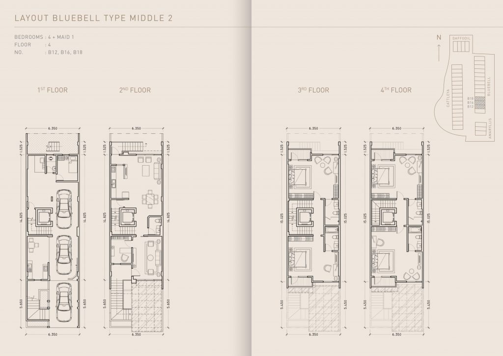 Pondok Indah Town House Lay Out Bluebell Type Middle 2 therumahproperty.com
