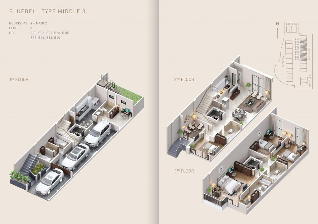 Pondok Indah Town House Floor Plan Bluebell Type Middle 3-therumahproperty.com