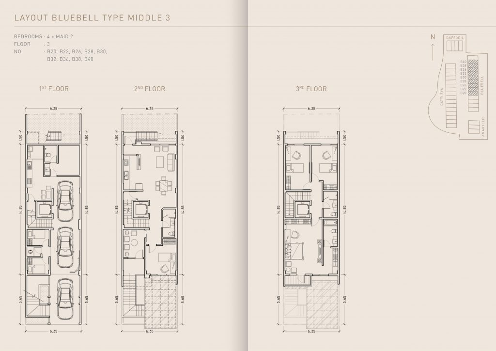 Pondok Indah Town House Lay Out Bluebell Type Middle 3 therumahproperty.com