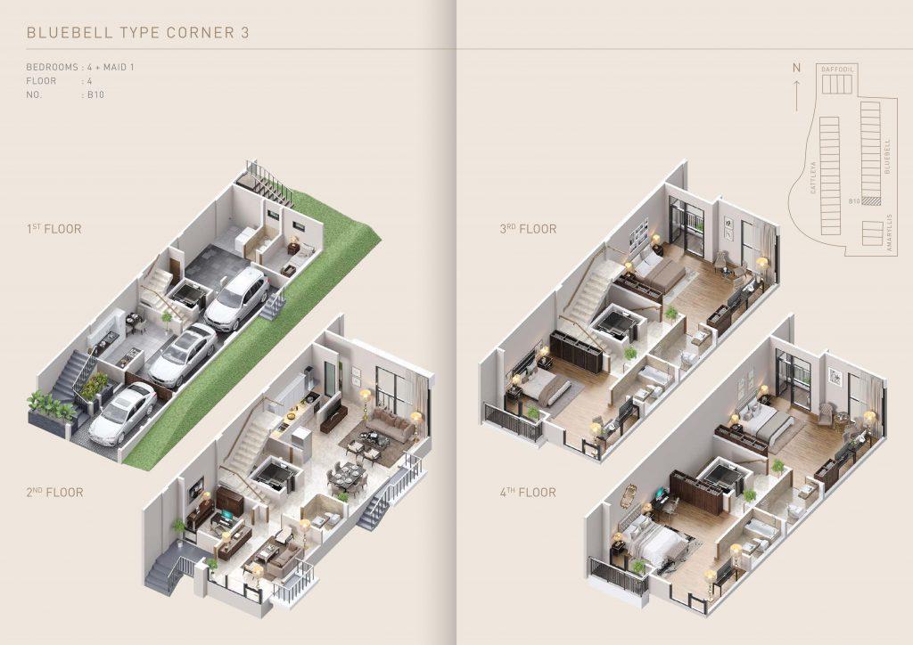 Pondok Indah Town House Floor Plan Bluebell Type Corner 3 - therumahproperty.com