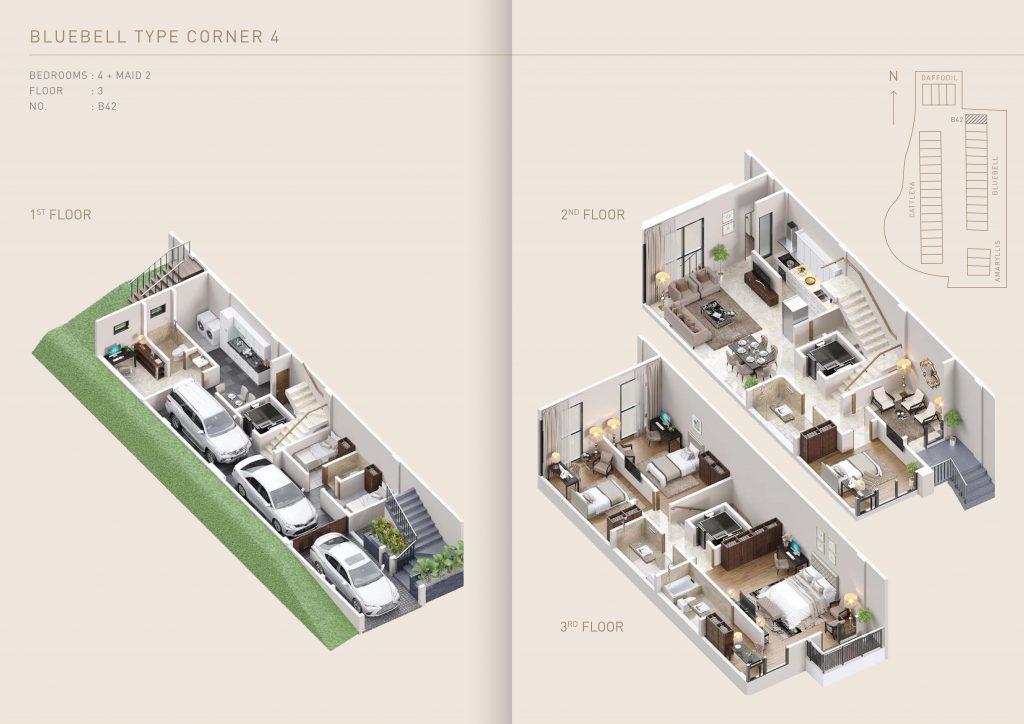 Pondok Indah Town House Floor Plan Bluebell Type Corner 4   therumahproperty.com