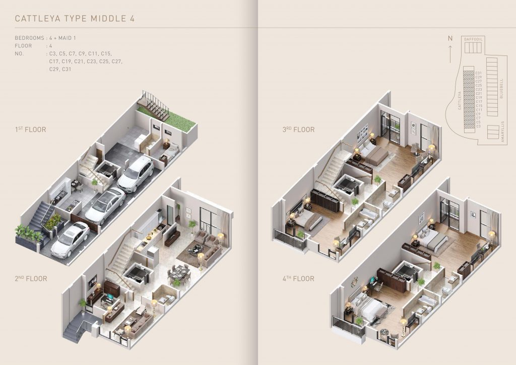Pondok Indah Town House Cattleya Tipe Middle 4 therumahproperty.com