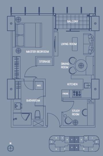 1 Bedroom + Study B SQ Res