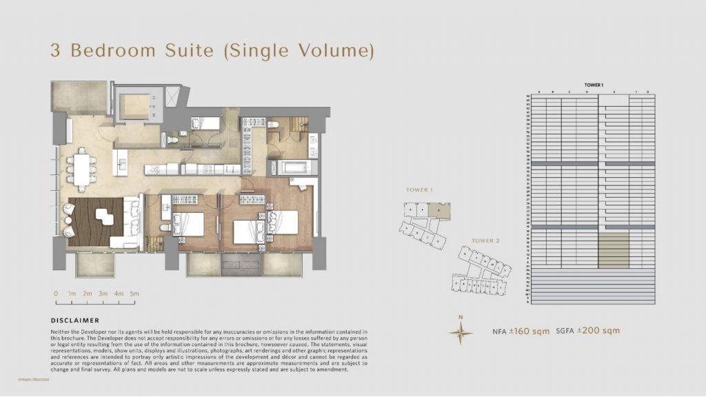 Apartemen Avania Residence unit tipe 3 Bedroom Suite (single volume)