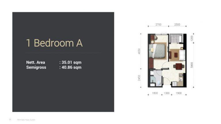 Permata Hijau Suites floor plan + tipe unit 1a