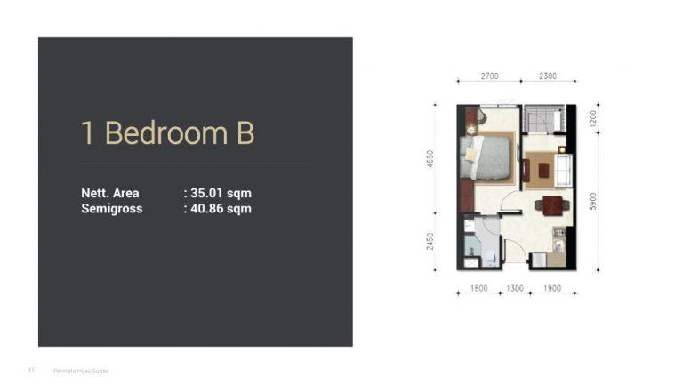 Permata Hijau Suites floor plan + tipe unit 1b