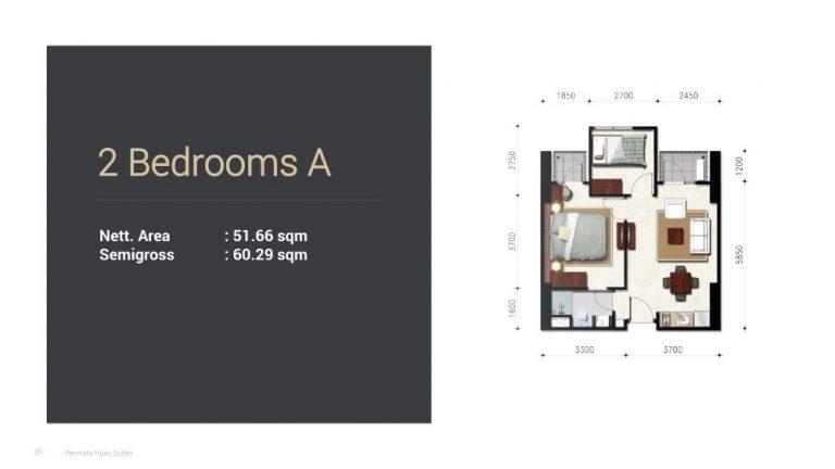 Permata Hijau Suites floor plan + tipe unit 2a