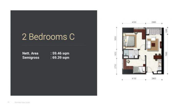 Permata Hijau Suites floor plan + tipe unit 2c