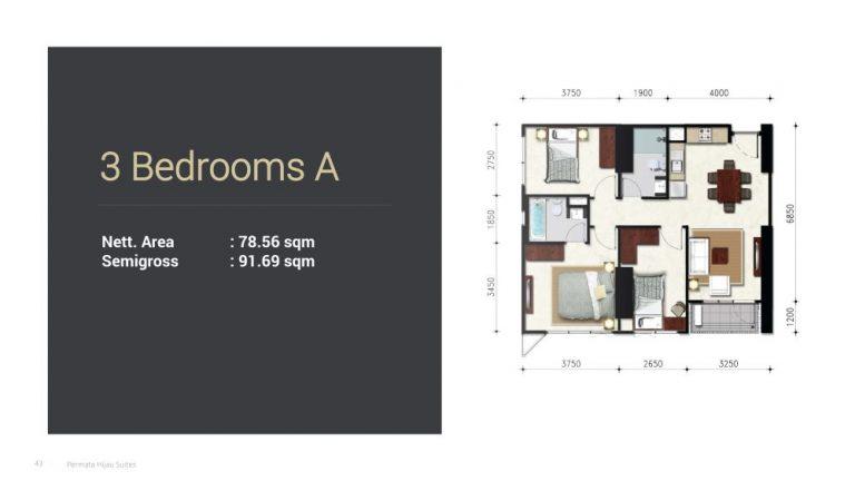 Permata Hijau Suites floor plan + tipe unit 3a