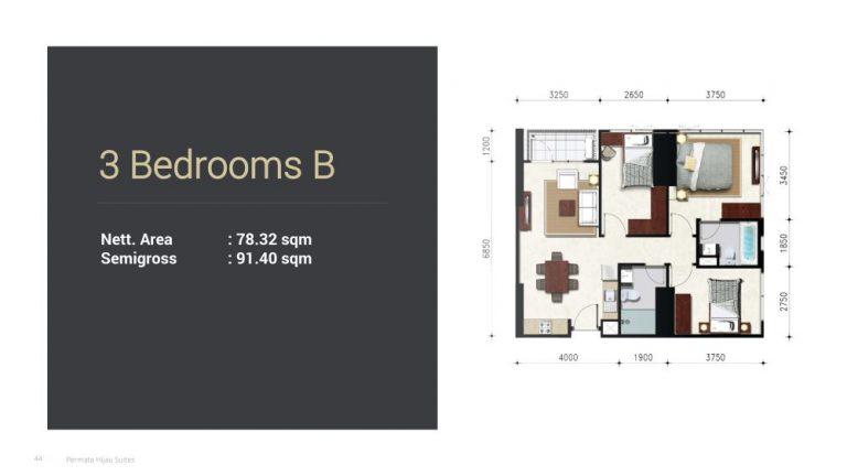 Permata Hijau Suites floor plan + tipe unit 3b