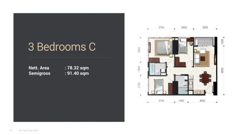 Permata Hijau Suites floor plan + tipe unit 3c